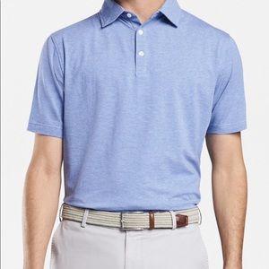 Peter Milar polo shirt blue striped cotton polo